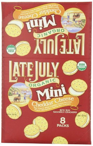 Cracker Bites (Late July Organic Mini Cheddar Cheese Bite Size Sandwich Crackers, 1.125-Ounce Pouches in 8-Count Boxes (Pack of 4))