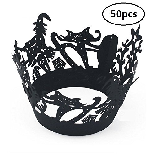 EBTOYS 50pcs Cupcake Wrappers Halloween Cupcake Liners for Halloween Fancy Party Decoration