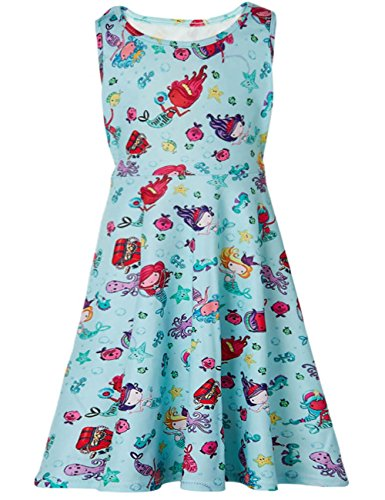 Funnycokid Cute Baby Girls Print Dress Casual Stretch Midi Dresses 4-5 ()