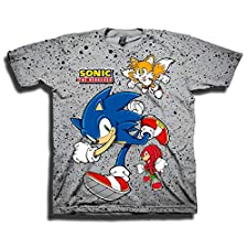 Sega Boys Sonic The Hedgehog Shirt - Featuring Sonic, Tails, and Knuckles - The Hedgehog Trio - Official T-Shirt (Grey, Medium)