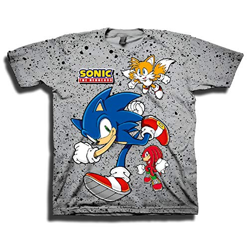 Sega Boys Sonic The Hedgehog Shirt - Featuring Sonic, Tails, and Knuckles - The Hedgehog Trio - Official T-Shirt (Grey, Small) ()