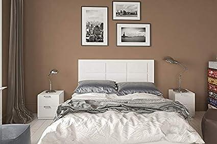 Oferta amazon: HOGAR24 ES Conjunto cabecero tapizado Blanco + 2 mesitas de Noche Color Blanco
