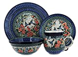 Blue Rose Polish Pottery Maria 4 Piece Dinner Set For Sale