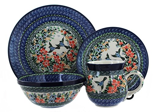 Rose Setting Piece Place 4 (Blue Rose Polish Pottery Maria 4 Piece Place Setting)