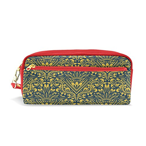 "Baroque Flower Pattern Alphabet Letter ""V"" PU Leather Pencil Case Portable Pen Organizer Pouch Stationary Case Makeup Cosmetic Bag"