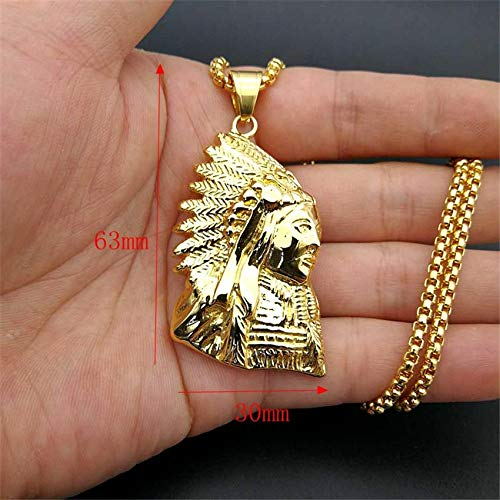Metal Color: Gold Color, Length: 50cm Davitu Hip Hop Stainless Steel Gold Color Native American Indian Chief Pendant Necklace for Women//Men American Rebel Jewelry