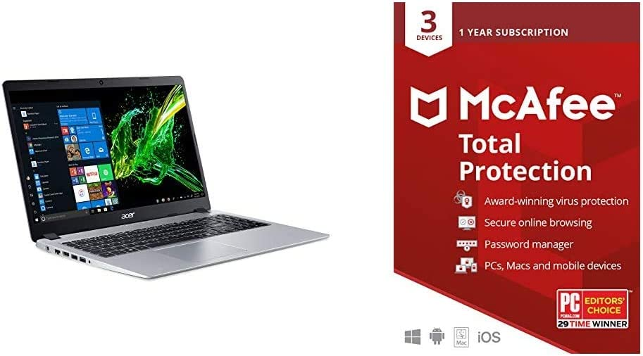 "Acer Aspire 5 Slim Laptop, 15.6"" Full HD IPS Display, AMD Ryzen 7 3700U, RX Vega 10 Graphics, 8GB DDR4, 512GB SSD & McAfee Total Protection 2020 Antivirus Internet Security Software, 1 Year - Key Card"