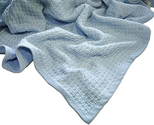 "Zoog Organic Cotton Toddler Blanket Natural Dye Premium Quality GOTS Certified Non-Chemical Non-Toxic 100% Organic Cotton Soft Knitted 31"" x 40"" Baby Blue (Blue)"