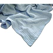 Zoog Organic Cotton Natural Dye Premium Quality GOTS Certified Non-Chemical Non-Toxic 100% Organic Cotton Soft Knitted 31  x 40  Baby Blue Toddler Blanket (Blue)
