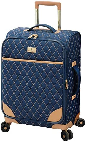LONDON FOG Queensbury Softside Spinner Luggage, Navy, Carry-On 20-Inch