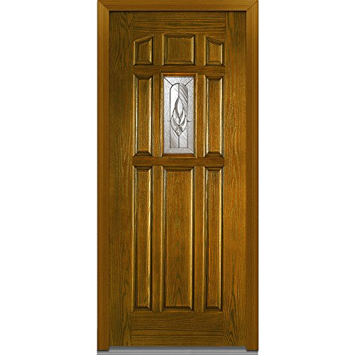 National Door Company Z000168L Fiberglass Oak, Dark Walnut, Left Hand In-swing, Exterior Prehung Door, Brentwood Center Lite 8-Panel, - Door Dark Panel