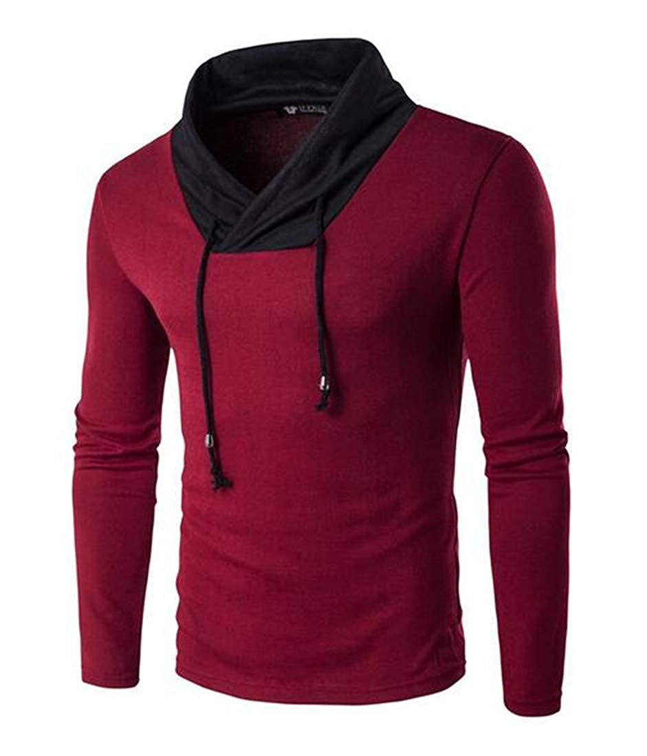 SELX Men Sweater V-Neck Stylish Long Sleeve Pullover Contrast Color Knitted Top