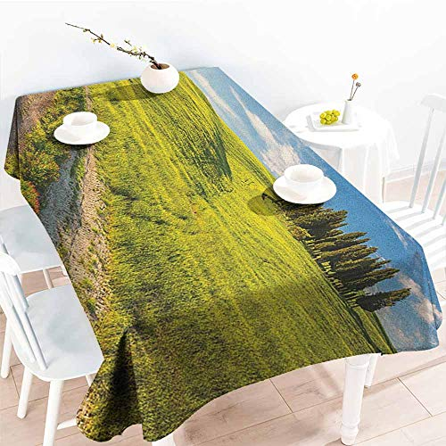 Tuscany Rectangular Table - familytaste Tuscany,Tablecloth Rectangular Tuscany Italy Getaway Dreamland Cultivated Land Wildflowers Springtime 70