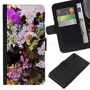 A-type (Composition Decoration Colorful) Colorida Impresión Funda Cuero Monedero Caja Bolsa Cubierta Caja Piel Card Slots Para Sony Xperia Z2 D6502