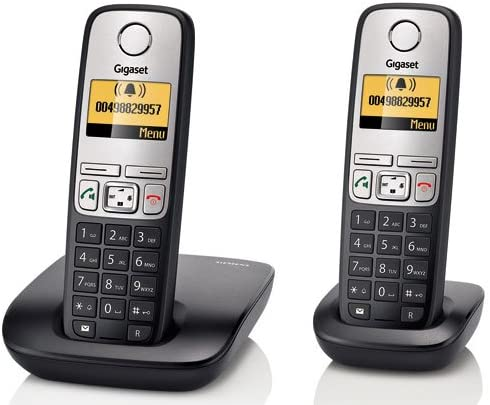 Gigaset A400 Duo - 2 teléfonos fijos inalámbricos DECT/GAP, color negro y plateado: Amazon.es: Electrónica