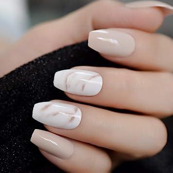 Amazon.com : CoolNail 24Pcs Ballerina Fake Nails Khaki Nude Marble ...