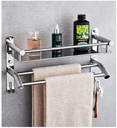 浴室のタオル掛け、ダブルロッド、フック、304ステンレススチール、トイレのペンダント、浴室用ラック、パンチフリー、パンチ (Size : 410mm)