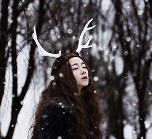 [Lolita Christmas Decor Festival Celebration Accessory Props Cos Cute White Snow Deer Reindeer Antlers Head Hair Band Photo Shoot Forest Goddess Headdress] (Snow White Props)