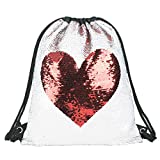 Mermaid Sequin Drawstring Backpack Glittering Outdoor Shoulder Bag,Magic Reversible Glitter Sports Backpack Bag Dance School Bag Girls Women Kids(DB-LoveStyle) Review