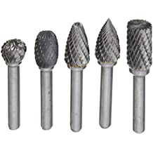 Drillpro 5Pcs 8MM Head Tungsten Carbide Rotary Point Burrs Die Grinder 6mm Shank Cutter