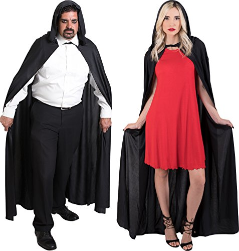 (Kangaroo's Long Black Hooded Cape, Unisex; Magician Cape, Vampire)