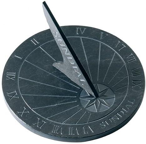 Thorness Grandes Reloj de sol de pizarra, redondo? 25 cm Diámetro: Amazon.es: Jardín