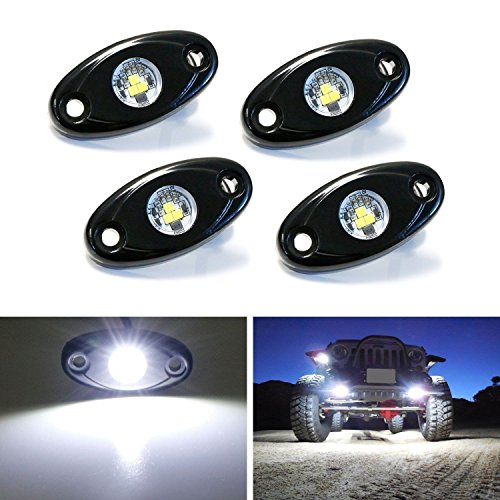(iJDMTOY (4) Universal Fit 3-CREE 9W High Power LED Rock Light Kit For Jeep Truck SUV Off-Road Boat, Xenon White)