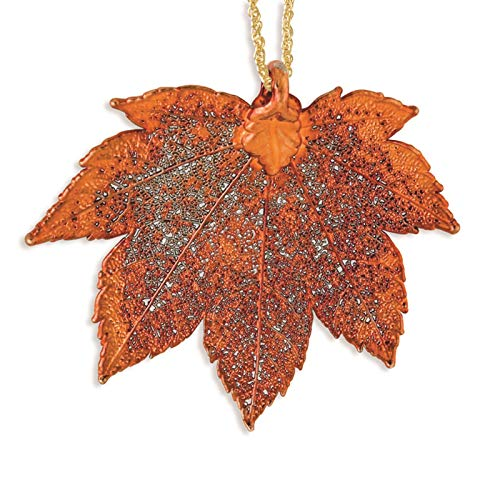 es Collection Iridescent Copper Dipped Full Moon Maple Leaf Necklace w/Gold-Tone Chain 20