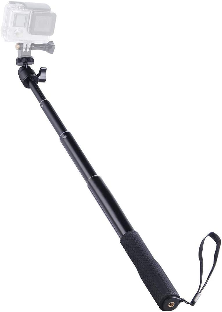 CAOMING Universal 360 Degree Selfie Stick with Black Rope for Gopro Cellphone Compact Cameras with 1//4 Threaded Hole Length: 300mm-710mm Durable