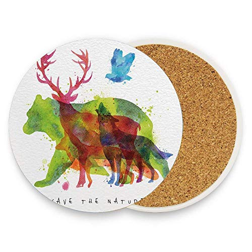 Jidmerrnm Alaska Animals Bears Wolfs Eagles Deers in Abstract Colored Shadow like Print Table Ceramic Coasters Suitable for All Cups, Mugs, Glasses