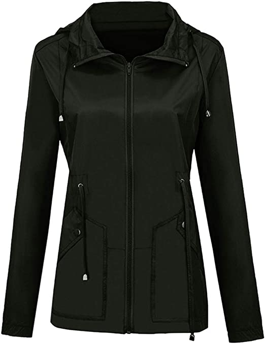 Women/'s Rain Mac Hooded Raincoat Ladies Waterproof Outdoor Coat Windproof Jacket