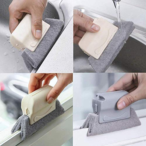 Window Groove Cleaning Brush, Kitchen Door Crevice Track Cleaner Tools, Fixed Brush Head Design Scouring Pad Material for Door, Window Slides and Gaps, Quickly Clean All Corners and Gaps (Blue)