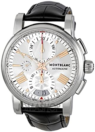 Montblanc Mens 44mm Chronograph Automatic Black Calfskin Date Watch 105856