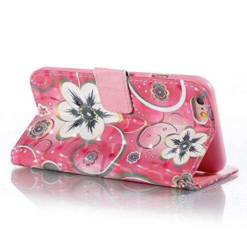 iPhone 6 Coque Fleur de tulipe Portefeuille Fermoir Magnétique Supporter Flip Téléphone Protection Housse Case Étui Pour Apple iPhone 6 / 6S + Deux cadeau