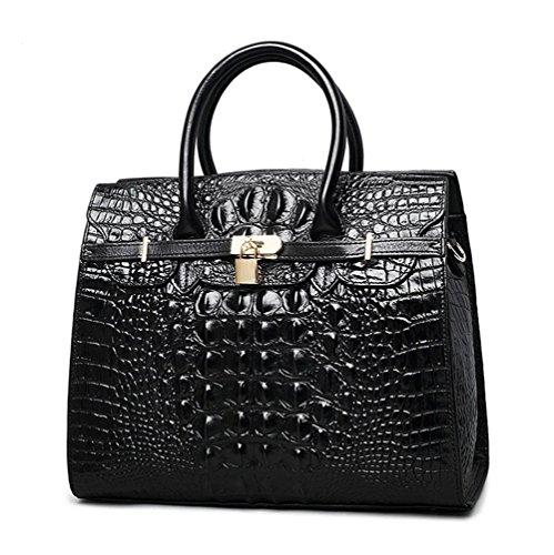 Cuir besace croco CARTABLE main Femme Noir crocodile à à b Serviette motif EN sac Jsix sac bandoulière pIwR4Aqx8q