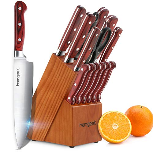 Knife Set,15-Piece Kitchen Knife Block Set,German X50Cr15 Stainless Steel Chef