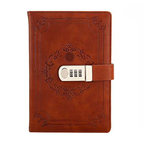 Embossed Organizer - Ai-life Retro Vintage 3D embossed PU Leather Password Notebook, A5 Size Wire Binding Dairy Planner Organizer Notepad Secret Lined Password Sketchbook with Combination Lock Pen Holder, 150x220mm