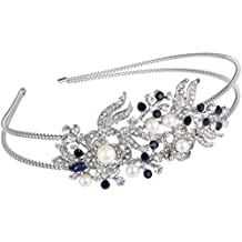 EVER FAITH Austrian Crystal Cream Simulated Pearl Flower Leaf Hair Head Band Silver-Tone