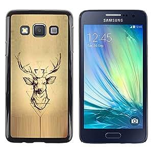 Deer Pergamino Madera astas de los ciervos- Metal de aluminio y de plástico duro Caja del teléfono - Negro - Samsung Galaxy A3