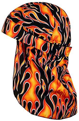 No Tie Desert Skull Cap Biker Style Headwraps Doo - Hot Rod Flames