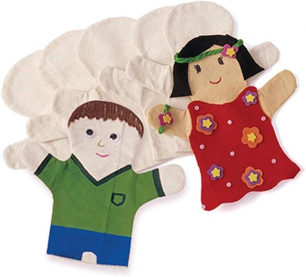 JUSTDOLIFE 4 Unids Marioneta De Mano Creativo En Blanco DIY Lienzo Juguete Educativo EnseñAr Juguete para Niños