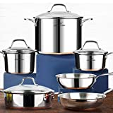 HOMI CHEF 10-Piece Nickel Free Stainless Steel Cookware Set Copper Band - Nickel Free Stainless Steel Pots and Pans Set - Healthy Cookware Set Stainless Steel - Non-Toxic Induction Cookware Sets
