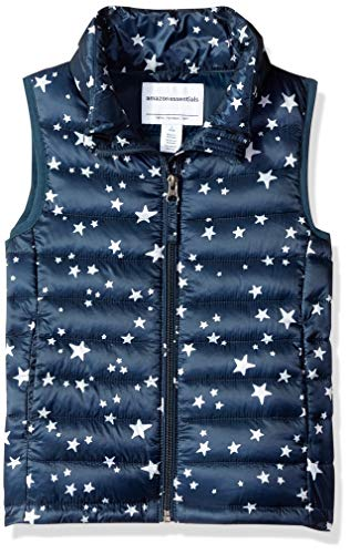 Amazon Essentials Big Girls' Lightweight Water-Resistant Packable Puffer Vest, Navy Star, Medium