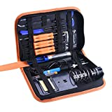 Beleef Electric Soldering Iron Kit, 60W 110V , Adjustable Temperature Welding Iron 200-450 Degrees, Dual Coiled Springs iron Stand, 5pcs Extra Tips, 6pcs Assist Tools in Portable PU Tool Bag