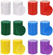 Shapenty 6 Colors Small Bingo Chips Plastic Counting Marker Poker Chips Learning Counters Bulk for Math Activi