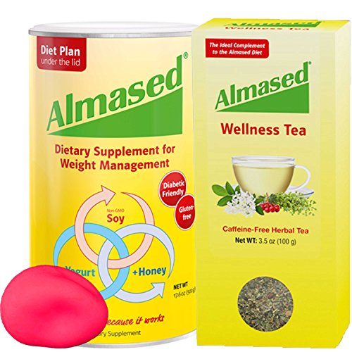 The #1 ALMASED® Weight Loss BUNDLE - Almased® Diet Protein Powder + Almased® Wellness Tea - Protein Support - Optimal Maximum Health and Energy + Free Stress Ball by Almased
