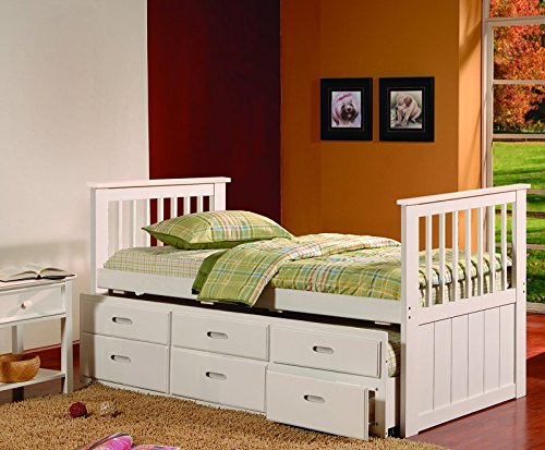 Kings Brand Captains Twin Daybed with Trundle Bed and Storage Drawers, White
