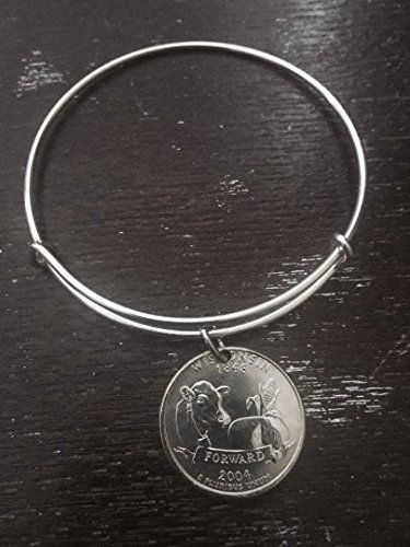 Wisconsin state quarter expandable wire bangle bracelet