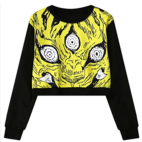 Girls Teens Womens Sweetshirt Pullover Sweater Crop Tops(Yellow)