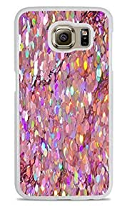 Holographic Pink Sequins White Hardshell Case for Samsung Galaxy S6